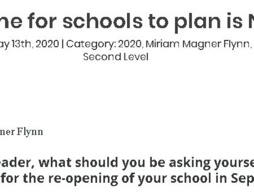 The time for schools to plan is NOW